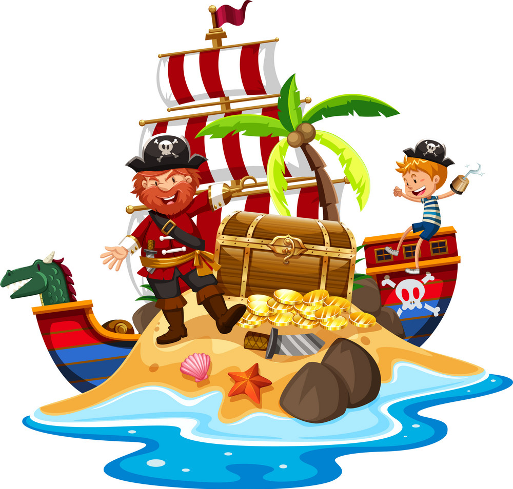 pirate-and-ship-at-treasure-island-vector-16959045